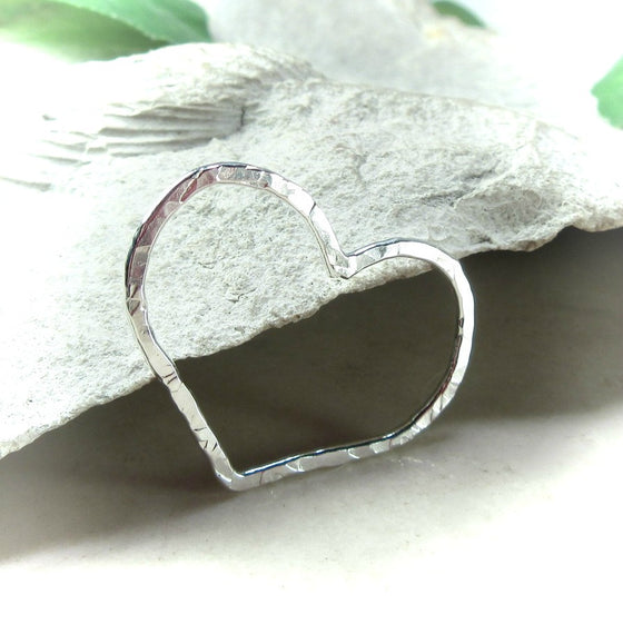 25mm silver heart charm