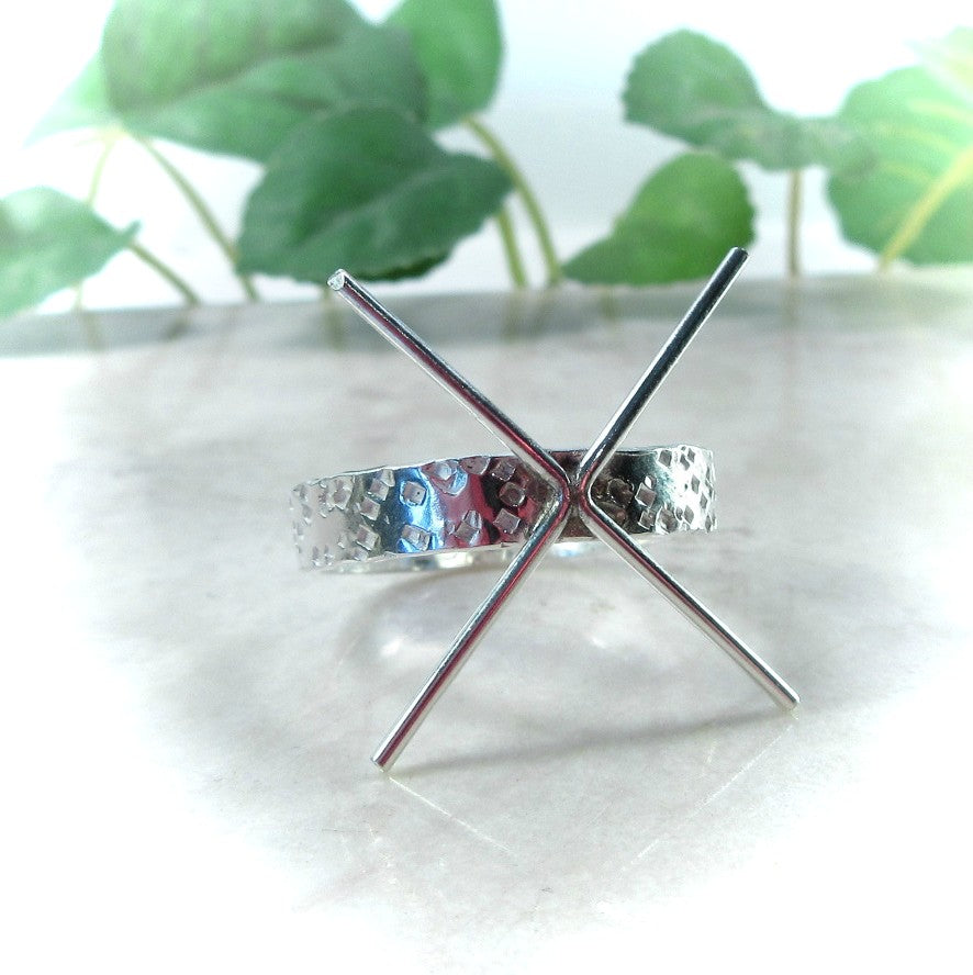 Claw Ring Sterling Silver Squares 3mm Wide Band 4 Prong