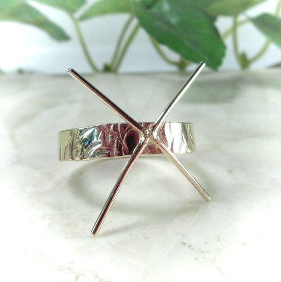 Raw Gemstone Ring Setting Gold Cross Cut 4mm Wide Band 4 Prong