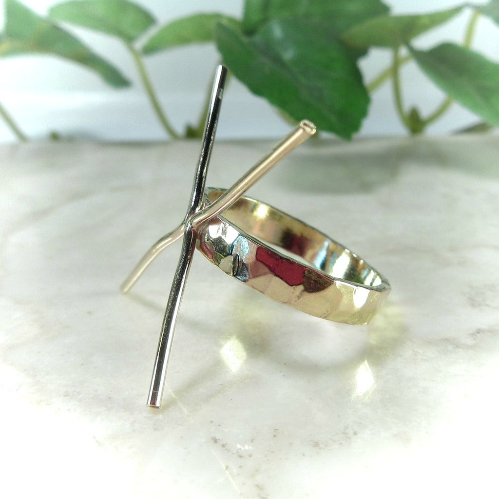 side view gold hammered ring setting