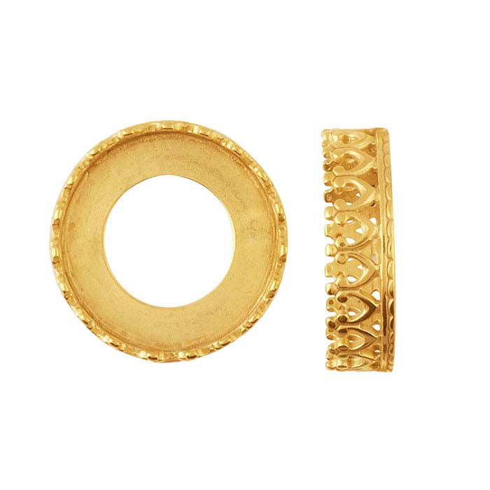 Crown Bezel Cup Ring Setting Solid 14k Gold 1.5mm Choose Your Texture & Ring Size