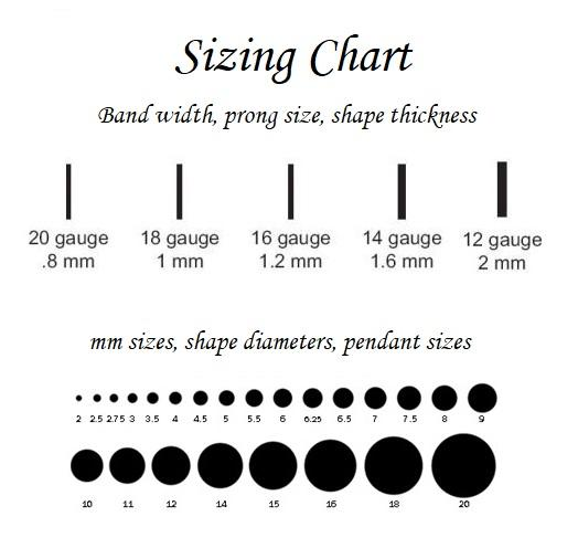 size chart for heart connectors silver & gold