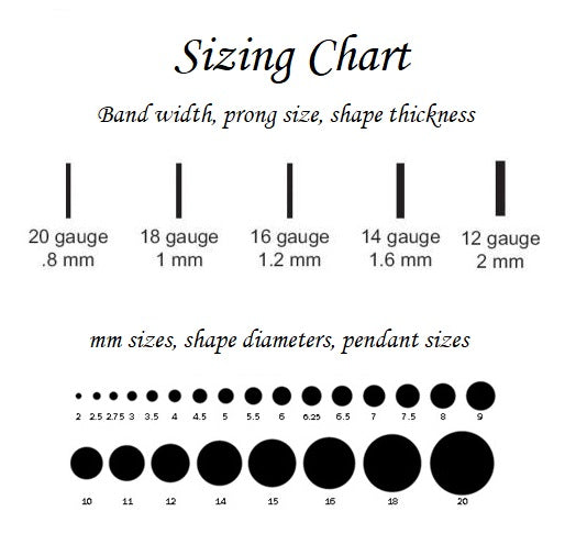 size chart for bezel cup setting with cubic zirconia