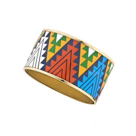 MAYA Aztec Triangle Pattern Bangle Bracelets 1 1/2""