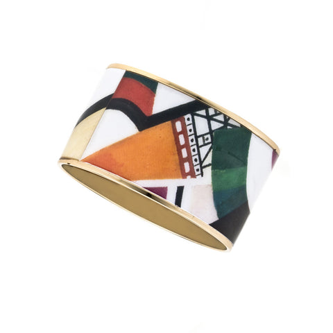 MAYA Geometric Orange Cone Bangle Bracelet 1""