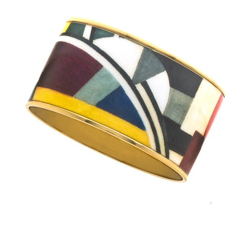 MAYA Geometric Blocks Bangle Bracelet 1 1/2""