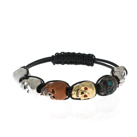 Lucky Skull Black Multi Color Shaballa Bracelet Small