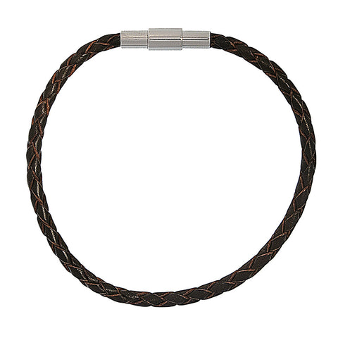 Barcelona Brown Braided Leather Bracelet
