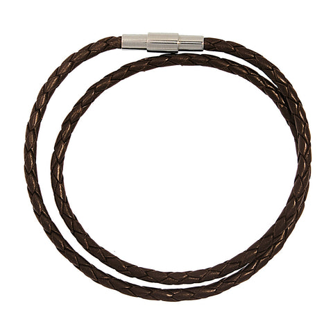 Barcelona Brown Braided Leather Double Wrap Bracelet