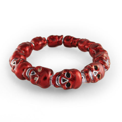 Lucky Skulls Red Enamel and Silvertone Stretch Bracelet