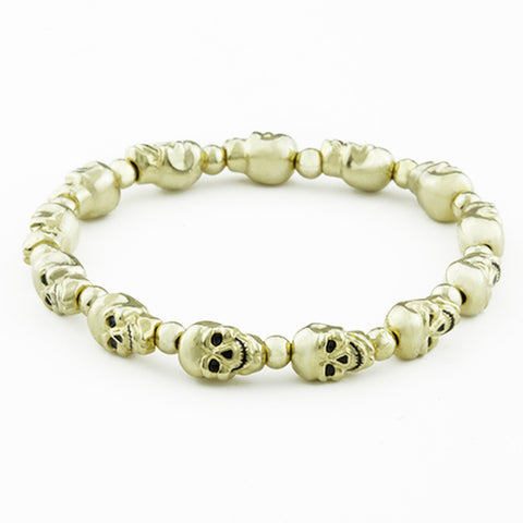 Lucky Skulls Goldtone Stretch Bracelet Small