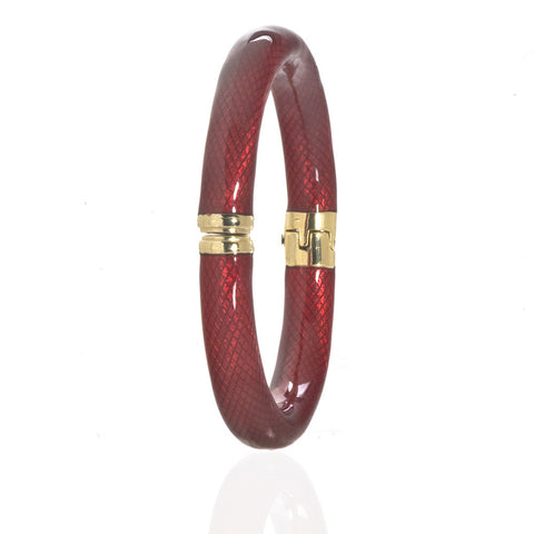 Gold Tone Red Snakeskin Bangle Bracelet