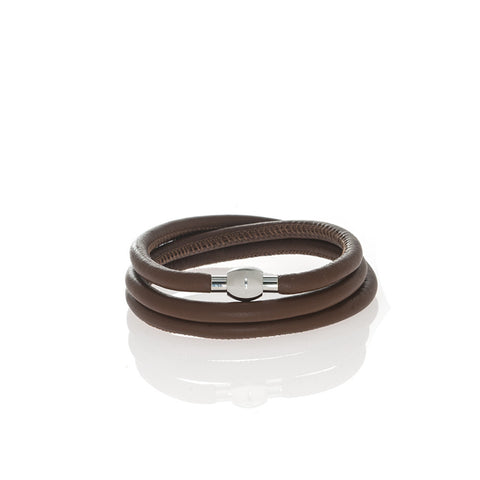 Brown Triple Calf Skin Wrap With Stainless Closure