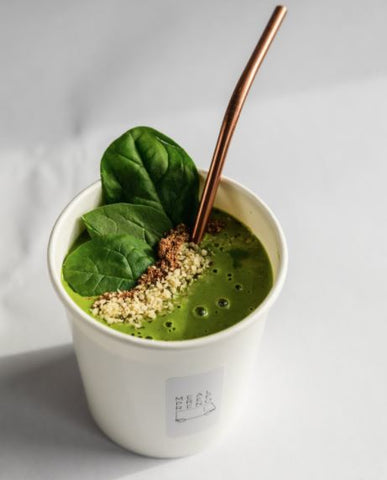 Protein and greens smoothie in a Meal Prep Reno cup