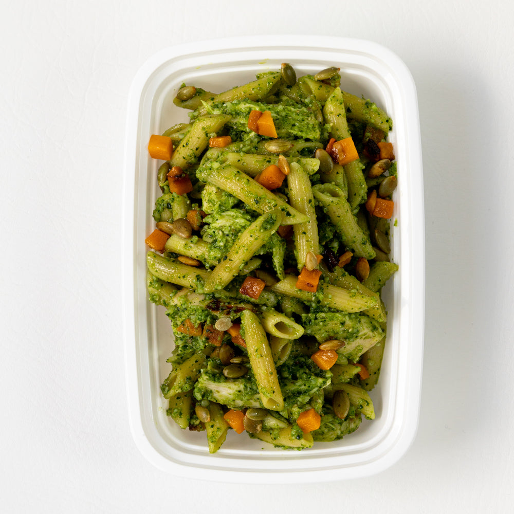 Kale Pumpkin Seed Pesto Pasta with Chicken