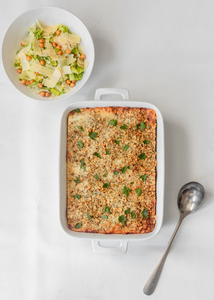 Lasagna Bolognese with Caesar Salad