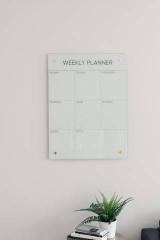 Glass Magnetic Weekly Planner Dry Erase Board