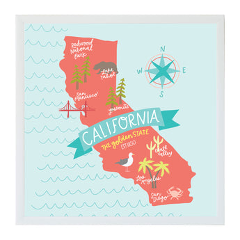 Petal Lane Home Alexa California State Map Destination Magnet Board