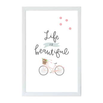 Petal Lane Home Alexa Life is Beautiful on a Bicycle Magnet Board