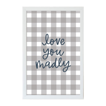Petal Lane Home Alexa Love you Madly Checkered Magnet Board Gray and White