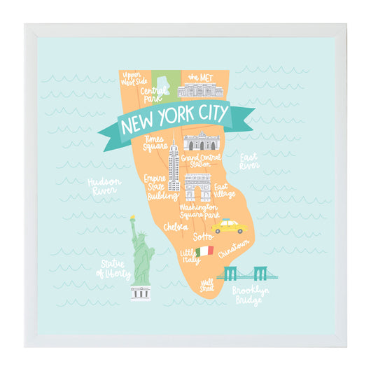 Petal Lane Home New York City Map Magnet Board