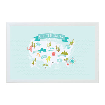 Petal Lane Home United States Map Magnet Board