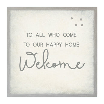 Petal Lane Home Vintage Frame To All Who Come Happy Home Magnet Board