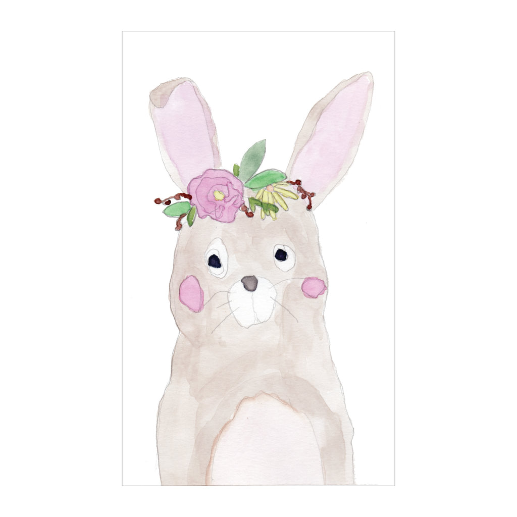 Spring Canvas Magnet Kids Watercolor Flower Bunny