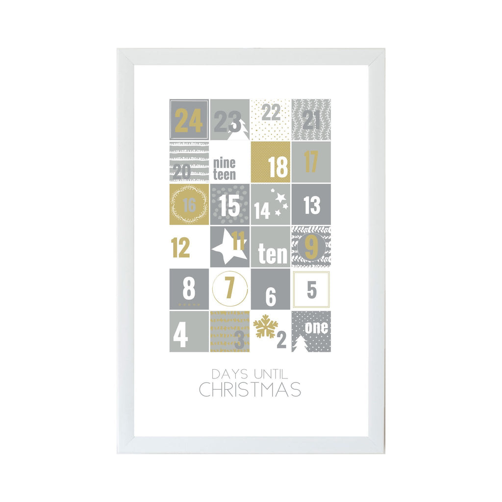 Christmas Seasonal Silver and Gold Advent Calendar Magnet Board