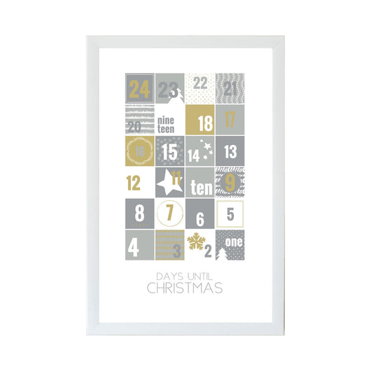 Petal Lane Home Christmas Seasonal Silver and Gold Advent Calendar Magnet Board