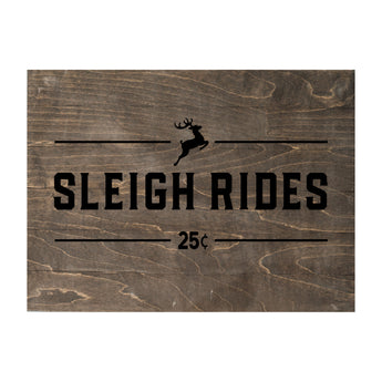 New Christmas Seasonal Real Wood Slat Board Sleigh Rides