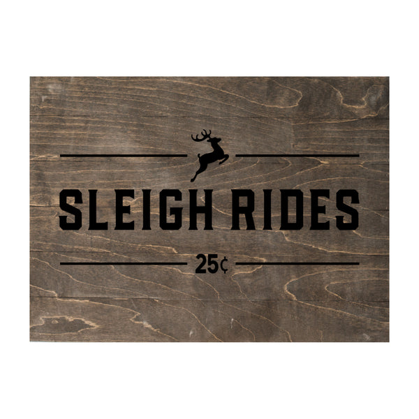 Christmas Seasonal Real Wood Slat Board Sleigh Rides