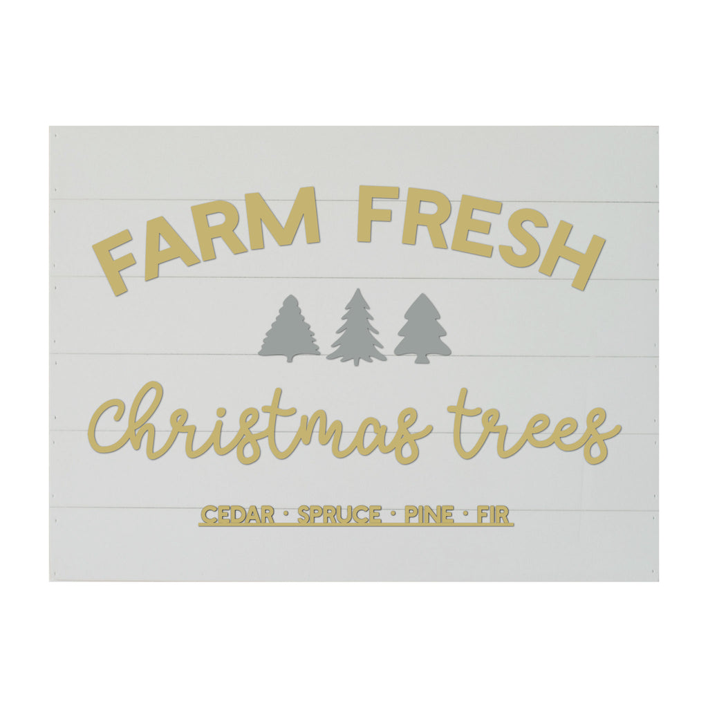 Christmas Seasonal Real Wood Slat Board Farm Fresh Christmas Trees