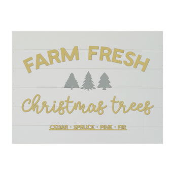 New Christmas Seasonal Real Wood Slat Board Farm Fresh Christmas Trees