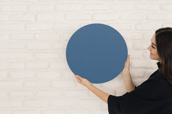 Glass Magnetic Classic Blue Circle Dry Erase Board