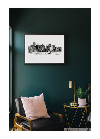 Petal Lane Home Ebony Framed Magnet Board with Boston Cityscape