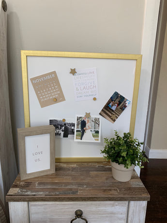 Petal Lane Home Gold Frame Blank Magnet Board with Quality Canvas