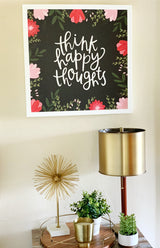 Petal Lane Home Alexa Think Happy Thoughts with Raised Letters Above Desk Stand