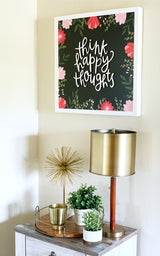 Petal Lane Home Hallway Magnet Board Think Happy Thoughts