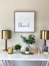 Petal Lane Home Raised Letters Lifestyle Blessed Warm Gray Frame Magnet Board Above Desk