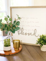 Petal Lane Home Raised Letters Lifestyle Blessed Warm Gray Frame Magnet Board on Kitchen Table