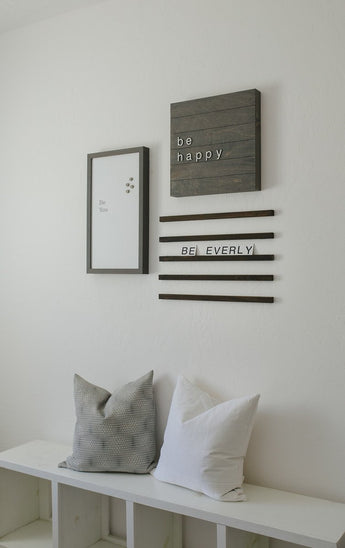 Petal Lane Home Real Wood Slat Board Be Happy With Raised Letters Driftwood and White