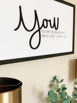 Petal Lane Home Lifestyle Close Up on Wall You are the Reason Magnet Board Wall Art