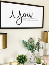 Petal Lane Home Ebony Raised Letters You are the Reason Wall Art over Desk