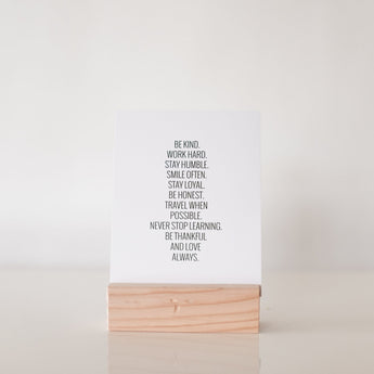 Petal Lane paperlove paper print Ebony Be Kind Always with wood stand.