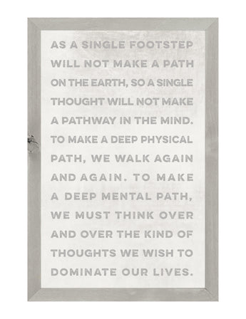 PETAL LANE HOME FRAMED QUOTE AS A SINGLE FOOTSTEP