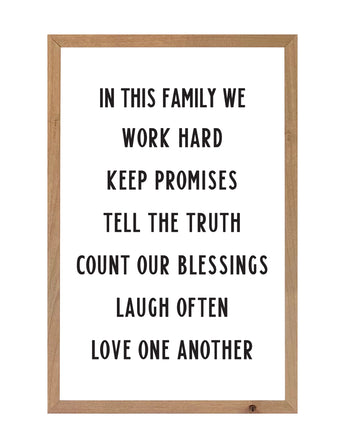 PETAL LANE HOME FRAMED QUOTE IN THIS FAMILY