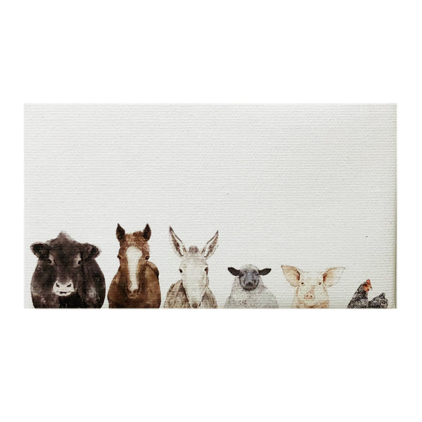 Canvas Magnet Rustic Farm Animal Family