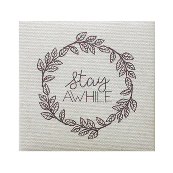 Canvas Magnet Rustic Stay Awhile Wreath