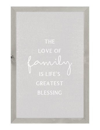 PETAL LANE HOME FRAMED QUOTE THE LOVE OF FAMILY